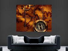 Brújula y Mapa de Impresión Arte Pared Poster Imagen Grande Enorme!!!