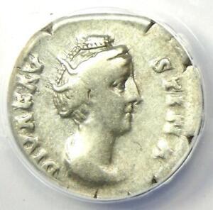 Diva Faustina AR Denarius Silver Roman Coin 147 AD - Certified ANACS F12