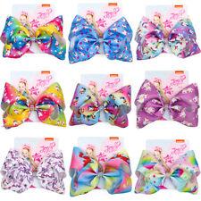 8 inch Cartoon JoJo Siwa Unicorn Rainbow Hair Bow Girl Kids Bowknot Hair Clip