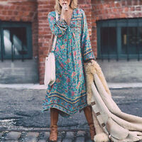 Women Floral Long Boho Maxi Dress Ladies Summer Long Sleeve Party Sundress MD