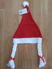 Bonnet de père-noël avec tresses blanches (NEUF)