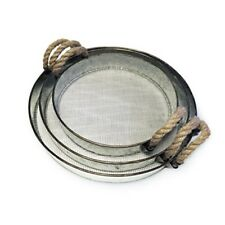 Metal Serving Tray Set Round Nesting Rope Handle Vintage Rustic Coffee Trays 3Pc