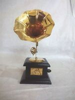 "9"" Showpiece Gramophone Phonograph Wood Brass Horn Home Decorative Gramaphone"