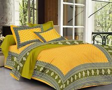 Indian Hand Block Cotton Jaipuri Double Bed Sheet With 2 Pillow Covers King Size