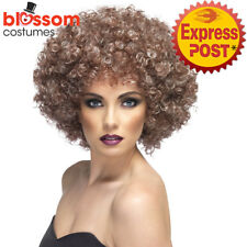 W474 Natural Looking Brown Blonde Disco Retro 60s 70s Afro Costume Curly Wig