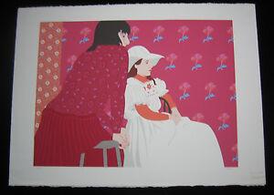 1990s Original Lisa Sloane Large Silksreen Serigraph Sisters Signed Limited H/C
