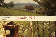 LENOIR NC Greetings Field Bunker Hill Covered Bridge postcard