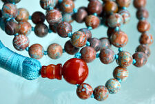 Rare Fossil beads & Red Agate Hand Knotted Mala Beads Necklace - Karma Nirvana