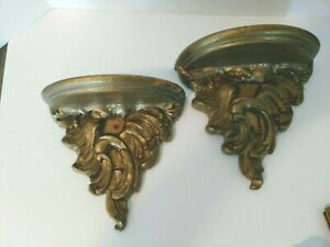 """Pair Vintage Gold Ornate Wooden Wall Sconce Shelves  7 3/4"""" X 7 3/4"""" X 4"""""""