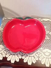 Blue Jean Chef Glazed Ceramic Apple shaped Bowl or Tray with Handle