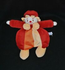 Peluche doudou clown semi plat SUCRE D'ORGE jaune rouge orange 30 cm NEUF