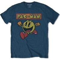 Pac-Man Eighties Poster Official Pacman Namco Arcade Game Blue Mens T-shirt