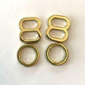 Gold Steel Adjuster & Slider Set Figure 8 Round Lingerie Bra Strap 5mm