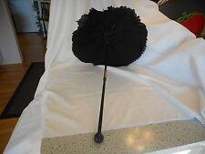 Victorian Folding Black Ruffled Mourning Small Parasol Umbrella Vintage (AeB