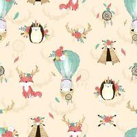 Boho cream tipi balloon animal deer 100% cotton fabric width 160cm kids printed