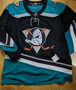 Men's Size 54 Adidas Jersey Anaheim Mighty Ducks Silver Season 25th Anniversary