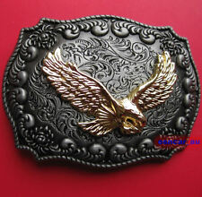 Western Gold Color Eagle Antique Pewter Belt Buckle