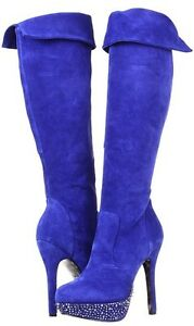 NIB Betsey Johnson Viper High Blue suede/leather over knee boot boots 8,5