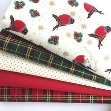 NATALE 5 FQ tessuto Bundle Robins & Tartan 100% cotone (n. 7)