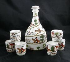 PV02029 Crown Staffordshire HUNTING SCENE Whiskey Set- Decanter with 6 Tumblers