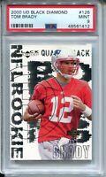 2000 Black Diamond Football #126 Tom Brady Rookie Card RC Graded PSA Mint 9
