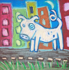 Sow in the City Pop Art Print 8 x 8 Signed by Artist Pig Swine Farm Collectible