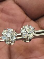 Pave 2.38 Cts F/VS1 Round Brilliant Cut Diamonds Stud Earrings In Solid 18K Gold