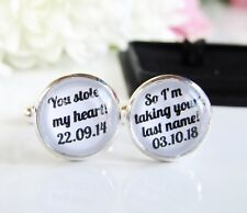 Personalised Groom You Stole My Heart Wedding Quote Cufflinks Date Gift In Box