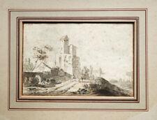 Jan Both (1610-1652) Paysage avec cavalier école hollandaise aquarelle 16x24cm