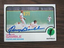 1973 Topps # 372 OSCAR GAMBLE Autograph / Signed card Cleveland Indians