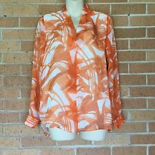 Vince Camuto XS Womens Orange Long Sleeves Floral Print Top Shirt Career -D