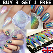 Holographicss RAINBOW NAIL Glitter POWDER Silver Mirror Shell Nail Art Dust Tips