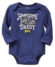 NEW Baby GAP Boys 6-12 mos Handsome like Daddy Blue Cotton Bodysuit