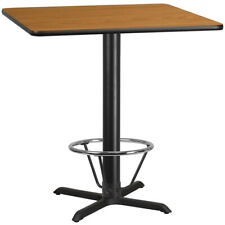 "42"" Square Restaurant Bar Height Table with Natural Laminate Top and Foot Ring"