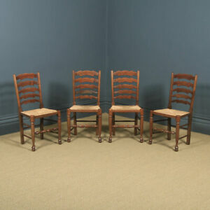 Set of Four Victorian Style Ash, Elm & Beech Farmhouse Kitchen Dining Chairs
