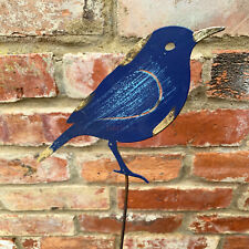 Metal Outdoor Garden Blue Tit Bird Decorative Lawn Spike Stake Statue Ornament