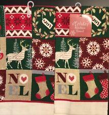 Set Of 2 Reindeer Christmas Holiday Winter Noel Kitchen Dish Hand Tea Towels