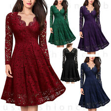 989ecca6a6a Women s Vintage Lace V Neck Formal Wedding Cocktail Evening Party Swing  Dress
