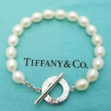 Tiffany & Co. 925 Sterling Silver Pearl Bead Beaded 7.5' Inch Toggle Bracelet