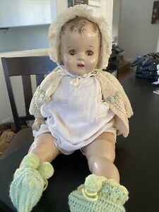 """Vintage 22"""" Unmarked Composition Baby Doll Soft Body Sleepy Eyes"""