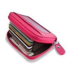 Accordion Style Wallet for Women, RFID Blocking Card Holder for Travel - Red