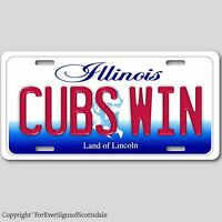 Chicago Illinois CUBS WIN Baseball Team Aluminum Vanity License Plate Tag New