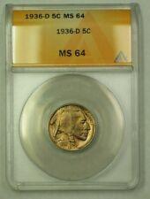 1936-D Buffalo Nickel 5c ANACS MS-64 (D) (WW)