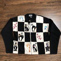 VTG Berek 2 Women's Medium Cat Embellished Color Block Full Zip Sweater Jacket