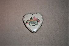 VINTAGE SMALL HEART SHAPE EMPTY TIN CANISTER made in England