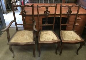 Set of 3 of Antique Dining  & Carver Chippendale Style chairs