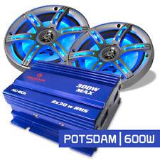 SET CAR HIFI SYSTEME 2.0 PACK SONO AUTO AMPLI + 2 ENCEINTES COAXIALES LED 600W