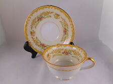 Vintage Tea or Coffee Cup & Saucer, Noritake China Mystery Pattern, Green Accent