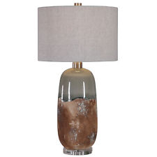 Rustic Mid Century Modern Rust Earth Tones Table Lamp | Terra Cotta Blue Green
