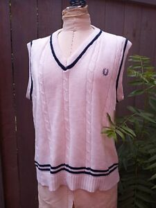 ❤ FRED PERRY Sportswear cable Knit Sweater Vest size Large vintage ❤
